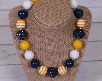 Navy blue and mustard yellow bubblegum necklace chunky bead necklace photography prop girls necklace
