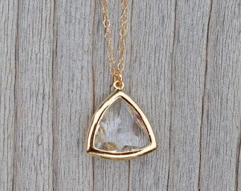 Crystal Triangle Pendant Necklace