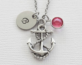 Anchor Necklace Nautical Ship Boat Ocean Sea Beach Summer Jewelry Swarovski Birthstone Silver Initial Personalized Monogram Hand Stamped