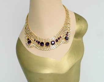 Czech Rhinestone Necklace - Dazzling Goldtone with Clear Aurora Borealis and Dark Amethyst Color Crystals - Free U.S. Shipping!