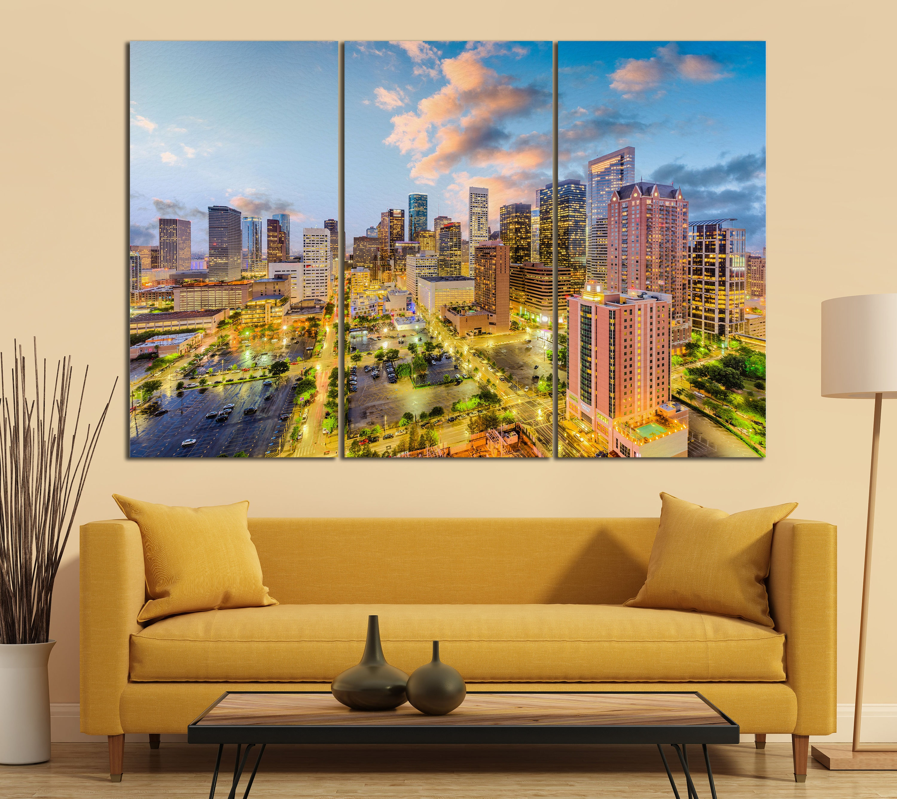 Houston Skyline Sunset Building Lights Leather Print/Large Houston ...