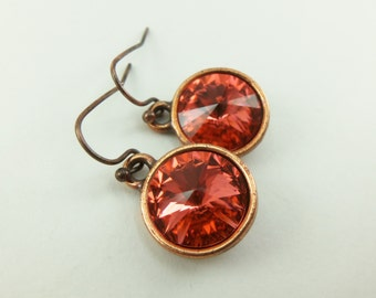 Dark Peach Copper Drop Earrings Crystal Dangle Earrings