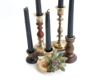 Brass & Wood Candlestick Holders, Collection of 5, Mid Century Candle Holders