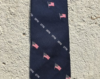 "Vintage 1970s bicentennial 4"" tie. Red, white, and blue. 4th of July. Patriotic. God Bless America tag. Independence Day. Americana."