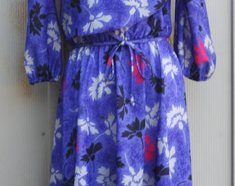 Blue Floral Dress - Vintage Secretary Dress - 70s Dress - Mod Dress - Sunday Dress - 3/4 Sleeve Dress - 1970s Dress - Indie Dress - Flower