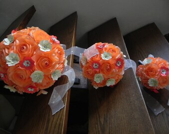 Peach and White Rose Wedding Paper Bouquet with matching boutonniere