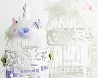 Bird cage wedding urn christening birthday with fabric flowers and butterflies