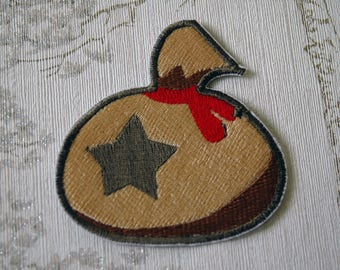 Animal crossing bell bag embroidered iron on patch.