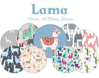 "Cabochons collage sheet / digital ""Llama, Alpaca"" round and oval"
