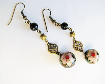 Vintage Cloisonne Bead Earrings with Onyx Beads, Cloisonne Earrings, Cloisonne Bead Earrings, Cloisonne Flower Earrings ERG85