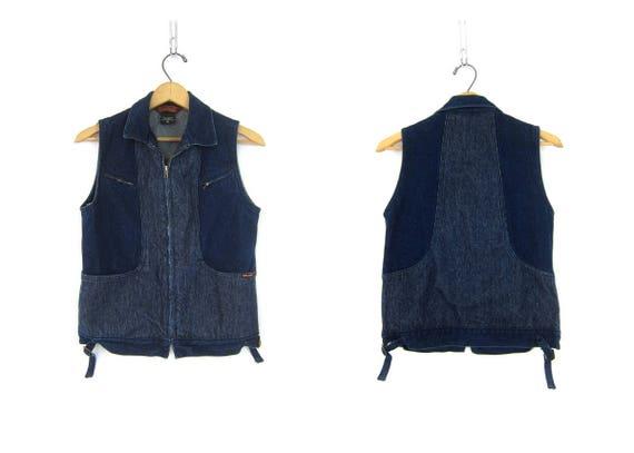 1980s Denim Vest Hipster Sleeveless Jean Jacket Pinstriped Blue Bon Jour Vest Casual Club Kid Zipper Jean Jacket Women's Size Small