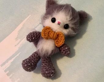 Fuzzy Kitty Gentleman - Bow Tie - Amigurumi - Crazy Cat Lady - Ready to Ship
