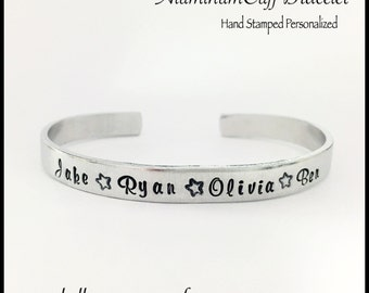 """Personalized - Hand Stamped - Cuff Bracelet - 1/4"""" width - Family Jewelry"""