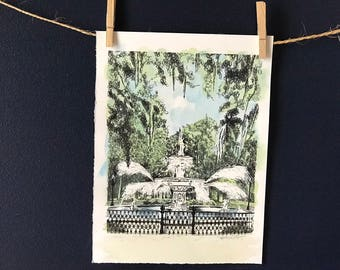 Savannah Forsyth Park Fountain - Hand Watercolored Print