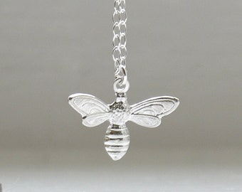 Tiny bee necklace in sterling silver