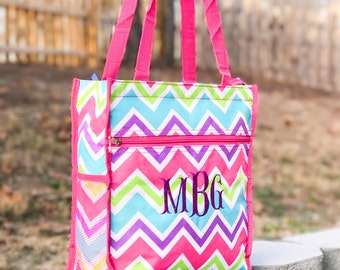 Multicolored Tote Bag, Kids Tote Bag, Canvas Beach Bag, Girls Bag, Pink Tote Bag, Overnight Tote, Pool Bag, Flower Girl Gift, Dance Tote Bag