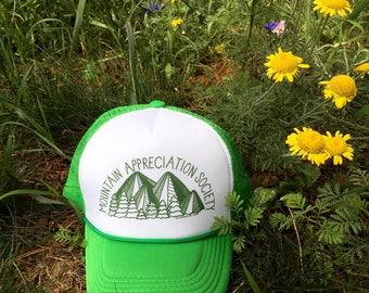 Mountain Appreciation Society - green trucker hat mesh