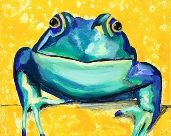 Happy Frog, Original Children's Room Fine Art Animal Painting on Canvas, Boy Girl Nursery Decor