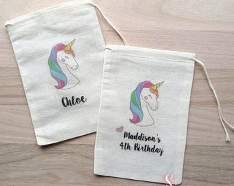 Personalized Unicorn Party favor bags