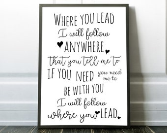 Where you lead I will follow, Gilmore Girls quote poster, Theme song Carole King, Mom birthday gift, bedroom poster wall art Gilmore poster