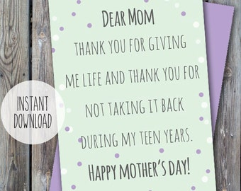 Printable mother's day card, funny mother's day card, cards for mother, love my mom card, thank you mom card, Digital mother's day card, mom