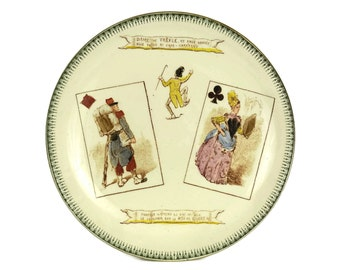 Antique Choisy Le Roi Ceramic Plate with Playing Cards.