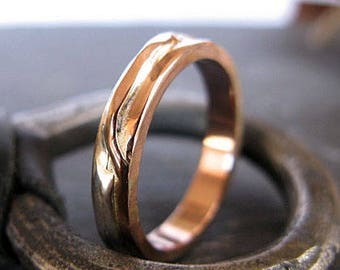 14K Rose Gold Ring Size 9.75 Mens Wedding Band Mens Wedding Ring Mens Wedding Rings Unique Mens Wedding Band Viking Wedding Ring Rustic Mens