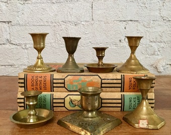 Vintage 7 Piece Small Brass Candlestick Holder Collection