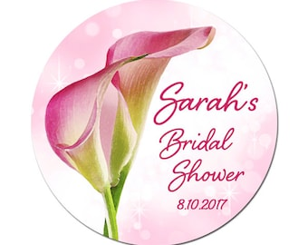 Personalized Bridal Shower Labels Pink Calla Lilly Flowers Round Glossy Designer Stickers