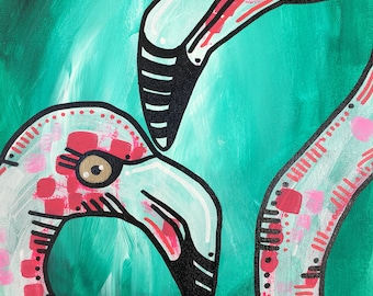 Flirty Flamingo painting 1