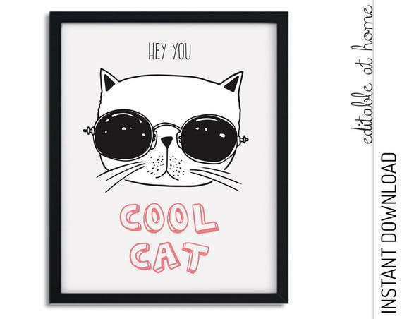 Cool Cat Nursery Wall Art INSTANT DOWNLOAD