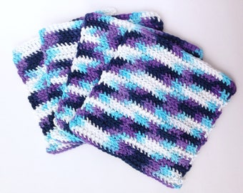 Crochet Dishcloths or Washcloths for the Kitchen or Bathroom - Set of 4 - White, Blue, Purple , Navy - 100% Cotton Yarn