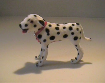 Vintage miniature Wagner Kunstlerschutz flocked or fuzzy Dalmatian dog