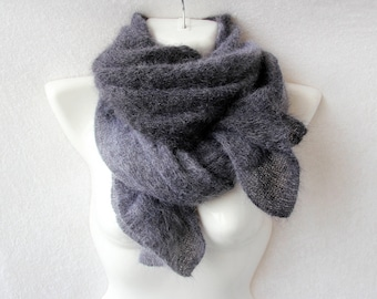 Mohair and silk scarf black grey gradient