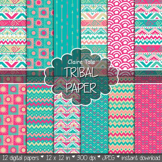 """Tribal digital paper: """"TRIBAL PAPER"""" with tribal patterns and tribal background, arrows, feathers, chevrons in pink, blue gold"""