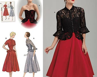 Simplicity 1250 Sewing Pattern Special Occasion Dress & Jacket Vintage 1950's Style Size R5 14-22