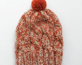 Chunky Beanie, Made to order, Soft wool hat, Orange Marl, Womens Winter Hat, Handknit