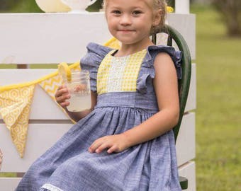 Ruthie's Picnic Dress Girl's Retro Ruffled Bodice ..Instant Download PDF Sewing Pattern, 3-6M to 12