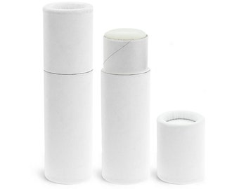 50 Pack, .3 oz, Paperboard Lip Balm Tubes, Eco-Friendly Cardboard Kraft Paper Container, Recyclable, Matte White