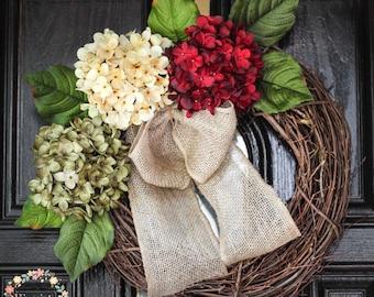 Front Door Wreath, Hydrangea Wreath-Fall Wreath-Front Door Wreath-Grapevine Wreath-Everyday Wreath, Housewarming-Mothers Day