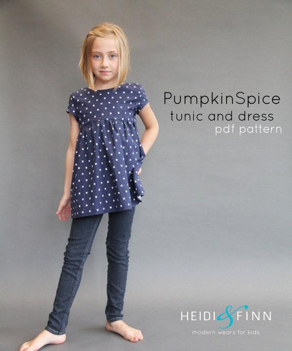 Pumpkin Spice PDF pattern and tutorial 12m-12y tunic dress