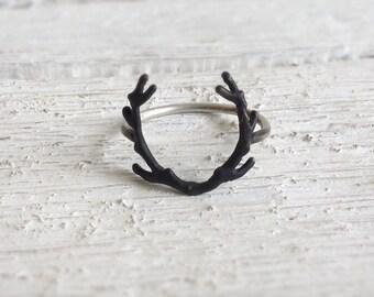 Deer Antler Ring-Sterling silver Antler Ring-Deer jewelry-Boho silver Ring-Deer antler jewelry- Statement ring