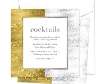 Cocktail invitations etsy cocktails invitation silver and gold cocktail party promotion invitation job promotion stopboris Choice Image