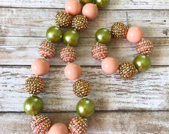 Spring Chunky Necklace, Spring Bubblegum Necklace, Peach and Green Toddler Necklace, Sparkle Necklace, Baby Necklace, Kids Bracelet