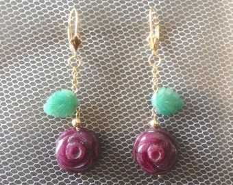 Big Carved Ruby Rose Dangle Earrings with Emerald Leaves, 9 carat Gold