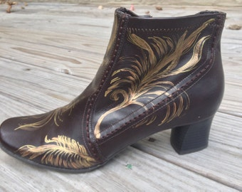 Hand painted/Elegant/Gold feathers/Ankle Boot/Dress Boot
