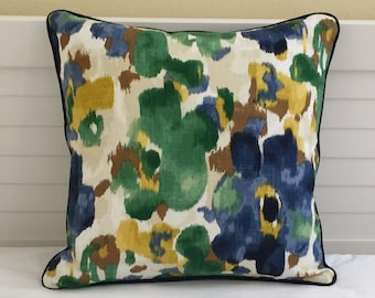 FREE SHIPPING Robert Allen Landsmeer in Ultramarine Blue (Both Sides) Designer Pillow Cover with Navy Linen Piping, 18x18