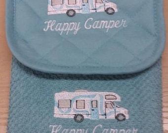 Happy Camper Embroidered Potholder/Towel Set Class C