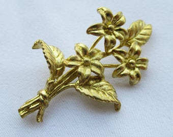 5pcs Golden Flower Branches 37.5x21mm Brass Filigree for Fashion Design bf297