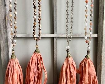 Bohemian Silk Sari Tassel Necklace